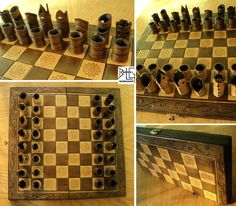 Leather and wood chess set by barlogg