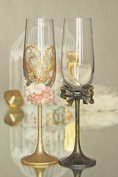 Copas de boda flautas de champán copas de novios de boda de