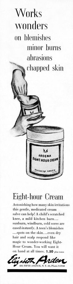 One of the first ads for our Eight-Hour Cream. Like wine, we've only gotten better with age! #tbt