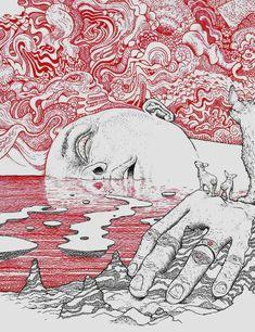 Glubmerge, Me, Ballpoint Pen, 2020 : Art Cool Art Drawings, Art Drawings Sketches, Skeleton Drawings, Dark Drawings, Pretty Art, Cute Art, Arte Obscura, Arte Sketchbook, Hippie Art