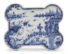 Dutch Delft blue & white    chinoiserie tea tray
