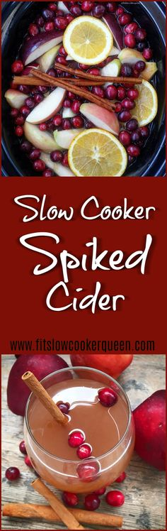Holiday season means entertaining. This slow cooker spiked cider recipe using all-natural fruit will have your house smelling amazing while adding a nice 'spike' to your punch. #slowcooker #crockpot