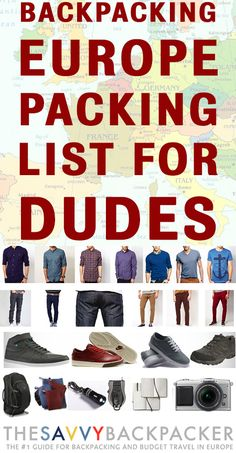 The ULTIMATE backpacking Europe packing list for guys. Everything you need for traveling in Europe!