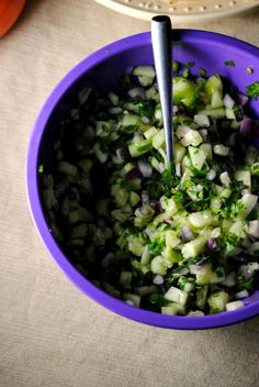 Cucumber salsa - it's what's for breakfast! I added roasted garlic that I had. Open to many variations. Will make again.