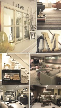 Decorating ideas for the basement.. Love the window mirror but use actual window for top of staircase