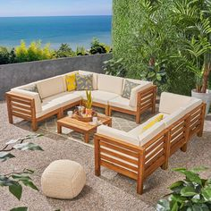 Noble House Jonah Teak Finish Wood Outdoor Sectional Sofa Set with Beige Cushions 55038 - The Home Depot - - Outdoor Sofa Sets, Bar Outdoor, Outdoor Decor, Outdoor Cushions, Outdoor Sectionals, Outdoor Living, Outdoor Wood Furniture, Furniture Sofa Set, Backyard Furniture