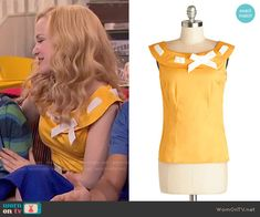 Liv's yellow ribbon-neck top on Liv and Maddie.  Outfit Details: http://wornontv.net/49975/ #LivandMaddie