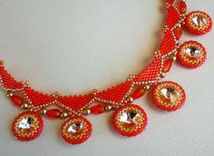 Rivoli Crystal Beadwoven Necklace Orange Tangerine by SpringColors