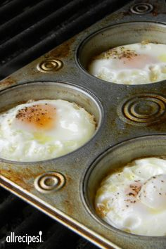 """Eggs on the Grill   Have you ever tried eggs on the grill by using a muffin pan? Just spray the pan and crack the eggs and put them on the grill. Try adding some chopped peppers and onions or anything to your liking."""""""