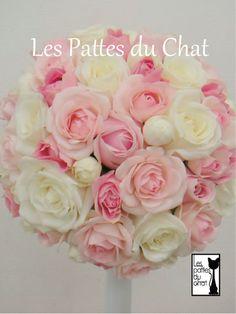 ウェディング フラワー セレクト ショップ ~レ・パデュシャ~(Wedding Flower Select shop ~Les Pattes du Chat~)... ホワイト&ピンクのラウンドブーケ