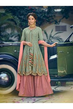 Pista Green Rangoli Georgette Mother & Daughter Wedding Wear Sharara Kameez Riwaayat 6905 By Maisha Maskeen Pakistani Suits, Pakistani Dresses, Indian Dresses, Indian Outfits, Punjabi Suits, Pakistani Fashion Party Wear, Indian Attire, Emo Outfits, Indian Wear