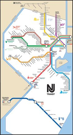 Map of New Jersey Transist rail network New Jersey, Jersey City, Nyc Train, Train Map, Nj Transit Map, Light Rail Map, New York Sites, Metro Map, Weekend In Nyc