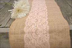 Burlap runner with rose gold spray painted lace attached - easy DIY and no mess!