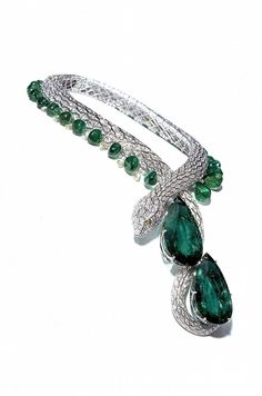 Cartier snake diamond and emerald necklace named 'Eternity' and dating from 1997, set with two emeralds weighing more than 200ct each