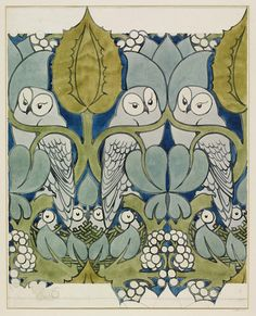 // Wallpaper design - The Owl by Charles Francis Annesley Voysey, Victoria & Albert Museum