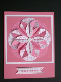 handmade greeting card ... monochromatic pink ... huge folded paper flower medallion created with a circle punch double sided paper ... Stampin' Up!