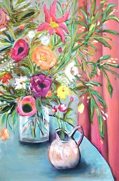 """Abstract floral still life painting, """"She Loved Pink Curtains"""", by Nina Ramos. Oil and Acrylic abstract colorful artwork! Pink Curtains, Beautiful Fantasy Art, Art Courses, Tropical, Colorful Artwork, Still Life Art, Abstract Flowers, Diy Art, Flower Art"""