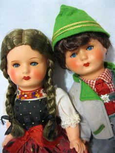 Antique dolls made of papier-mache! Perfect condition! Hans Volk