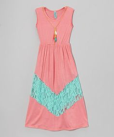 Look at this #zulilyfind! Coral & Teal Lace Sleeveless Dress - Toddler & Girls by Maya Fashion #zulilyfinds