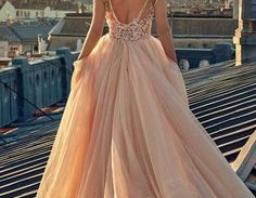 $198.00 A-line Scoop Cap Sleeves Lace Appliques Prom Dress,Blush Pink Wedding Dress with Train