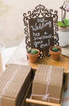Wedding soundtrack and succulent favors @wedding chicks