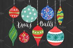 Christmas Clipart - Watercolor Balls #christmasballs #christmasclipart