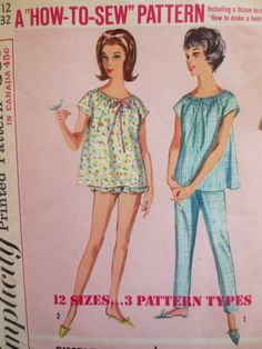 Baby Doll Pajamas, Simplicity 5548, 1960s Pajama Pattern, Bust 32, PJ Pattern, 1960s Sewing Pattern, Vintage Sewing Supply, Sixties PJs by sewbettyanddot on Etsy