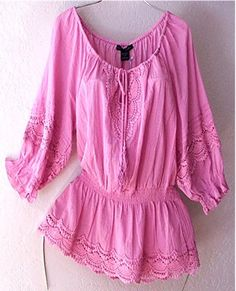pink crochet vintage lace boho peasant blouse shirt. so pretty!