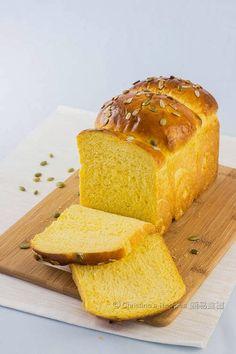 Tangzhong Pumpkin Loaf - super soft, fluffy golden bread from Christine's Recipes