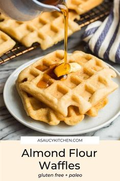 Simple, paleo friendly Almond Flour Waffles - mixed and prepped all in one bowl with only 9 ingredients! These waffles are light, crisp and melt-in-your-mouth delicious!
