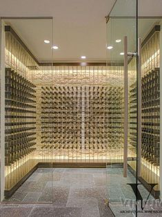 Contemporary Wine Cellar Design, Pictures, Remodel, Decor and Ideas - page 11 - Hotels Concept Wine Cellar Basement, Wine Cellar Racks, Glass Wine Cellar, Home Wine Cellars, Wine Cellar Design, Caves, Wine House, Wine Wall, Italian Wine