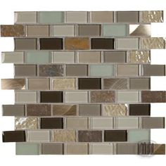 Stone, glass, and metal mosaic tile blend in brick pattern by MSI Stone