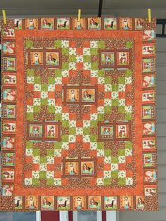 Crib Size Quilt in orange brown green and cream by djwquilts, $95.00