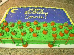 pumpkin patch Pumpkin Patch Cake, Pumpkin Patch Birthday, Pumpkin Cakes, Pumpkin Sheet Cake, October Birthday, Fall Birthday, 3rd Birthday Parties, Boy Birthday, Birthday Ideas