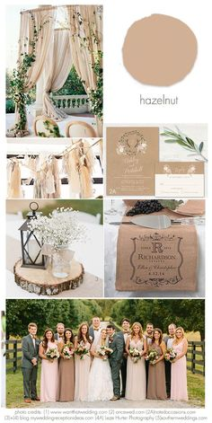 Hazelnut 2017 Wedding Idea Inspirations Using Hazelnut in your wedding showing ideas for using Pantone's Hazelnut for weddings in the 2017 wedding season. Brown Wedding Themes, March Wedding Colors, Taupe Wedding, Neutral Wedding Colors, Wedding Color Schemes, Champagne Wedding Colors, Rustic Wedding Colors, Chic Wedding, Wedding Ideas