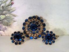 1940s, Blue Glass Brooch and Earrings Set, Blue Glass Brooch, Clip-On Earrings, Brooch and Earrings Set, Vintage Brooch, Vintage Earrings