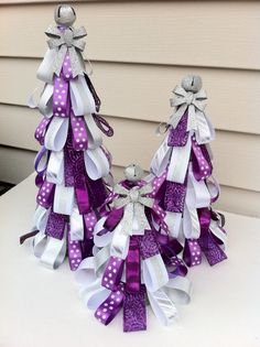 purple white silver Christmas ribbon tree