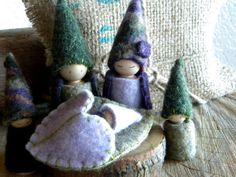 Waldorf Gnome Family Playset, Forest Family Play set, Waldorf Doll house, Tree House Family, purple, hunter green, sage green, lavender,
