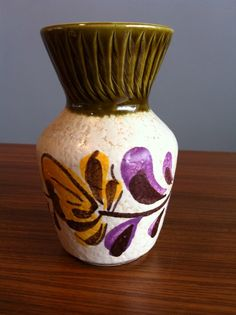 Retro Bay Floral West German Pottery Vase 14 by PolargirlVintage, $15.00