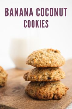 These vegan coconut cookies are absolutely delicious. They're thick and cakey, just sweet enough, with the perfect balance of banana and coconut flavour. They go great with your morning cup of coffee, and make the ultimate afternoon sweet snack. Plus, they're egg, dairy and nut free! #vegan #cookies Easy Vegan Cookies, Coconut Cookies, Healthy Cookies, Vegan Desserts, Vegan Recipes, Snack Recipes, Snacks, Vegetarian Breakfast Recipes, Healthy Sweet Treats