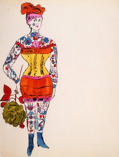 kundst: Andy Warhol (US 1928-1987) Female Costumed Full Figure, 1950s