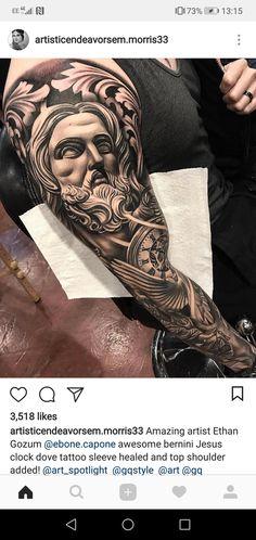 Greek Mythology Tattoos, Roman Mythology, Birthday Tattoo, Jesus Tattoo, Tattoo Art, Sleeve Tattoos, Tattoo Ideas, Dark, Artist