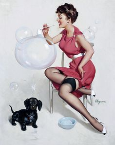 """""""Neat Trick"""" by Gil Elvgren, 1958. #bubbles #dachshund   via oldcarguy41"""