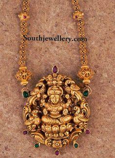 gold indian lakshmi pendant
