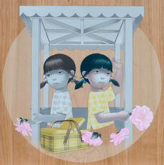 Figurative Paintings on Wood by Sean Mahan