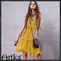 ARTKA FAHION MUSTARD YELLOW SLEEVELESS SWING DRESS BOHO STYLE LA14558X  US$105.00
