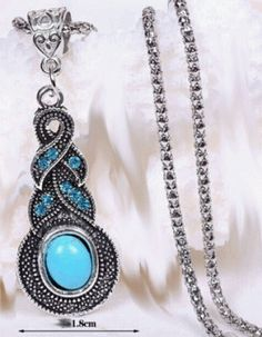 Turquoise Rhinestone Necklace Only 6.75 with Free Shipping!!! One left at this price