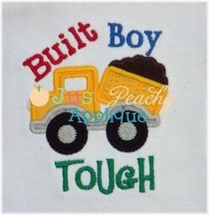 Built Boy Tough Dump Truck Dumptruck Machine Embroidery Design Plus Free Design Perfect for Hooded Towels. $4.00, via Etsy.
