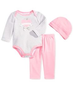 First Impressions Baby Girls' 3-Piece Long-Sleeve Bodysuit, Pants