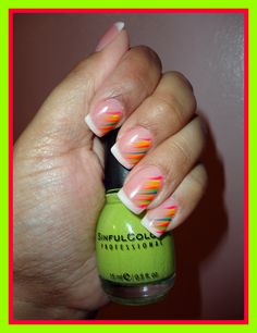 february 2012 nails . . . fluorescent strokes . . . and my toenails are painted Innocent (#944)  by SinfulColors . . .